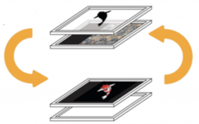Switching Dual Layer Display with Dynamic LCD Mask
